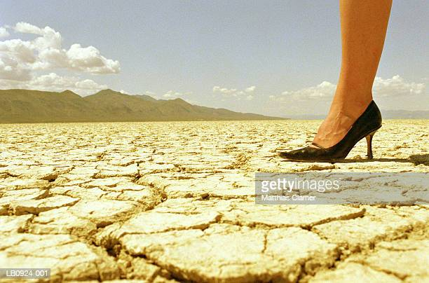 woman standing in desert, low section, close-up - low section stock pictures, royalty-free photos & images