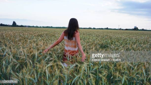 woman standing in farm against sky - social responsibility stock pictures, royalty-free photos & images