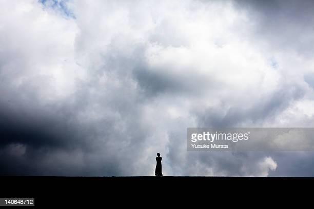 woman standing in field - junge frau rätsel stock-fotos und bilder