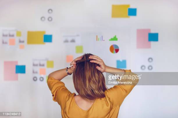 woman standing in front of chart full of notes - failure stock pictures, royalty-free photos & images