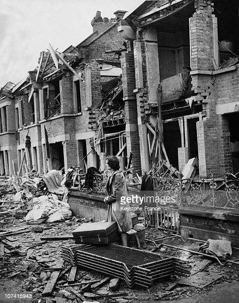Woman Standing In Front Of Her Wrecked House In London On February 14Th 1941