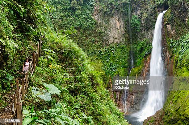 Woman standing in front of towering tropical waterfall