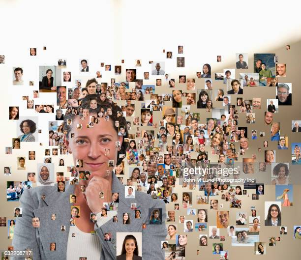 Woman standing in montage of faces