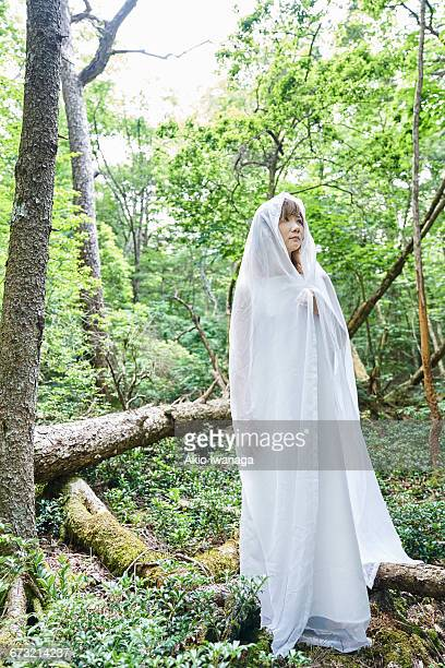 woman standing in the forest - akio iwanaga ストックフォトと画像