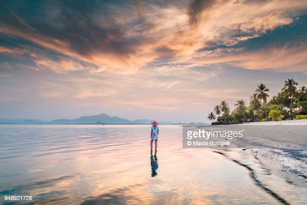 woman standing in the shallow water on the beach at sunset, thailand. - 雄大 ストックフォトと画像