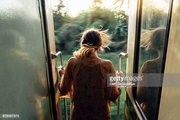 Woman standing in the train door