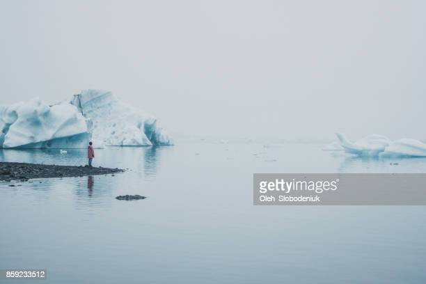 woman  standing  near jokulsarlon lagoon - glacier lagoon stock photos and pictures