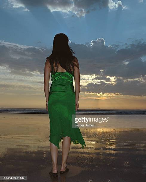 woman standing on beach at sunset, rear view - green dress stock pictures, royalty-free photos & images