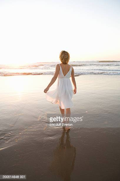 woman standing on beach looking at ocean at sunset, rear view - everton women stock pictures, royalty-free photos & images