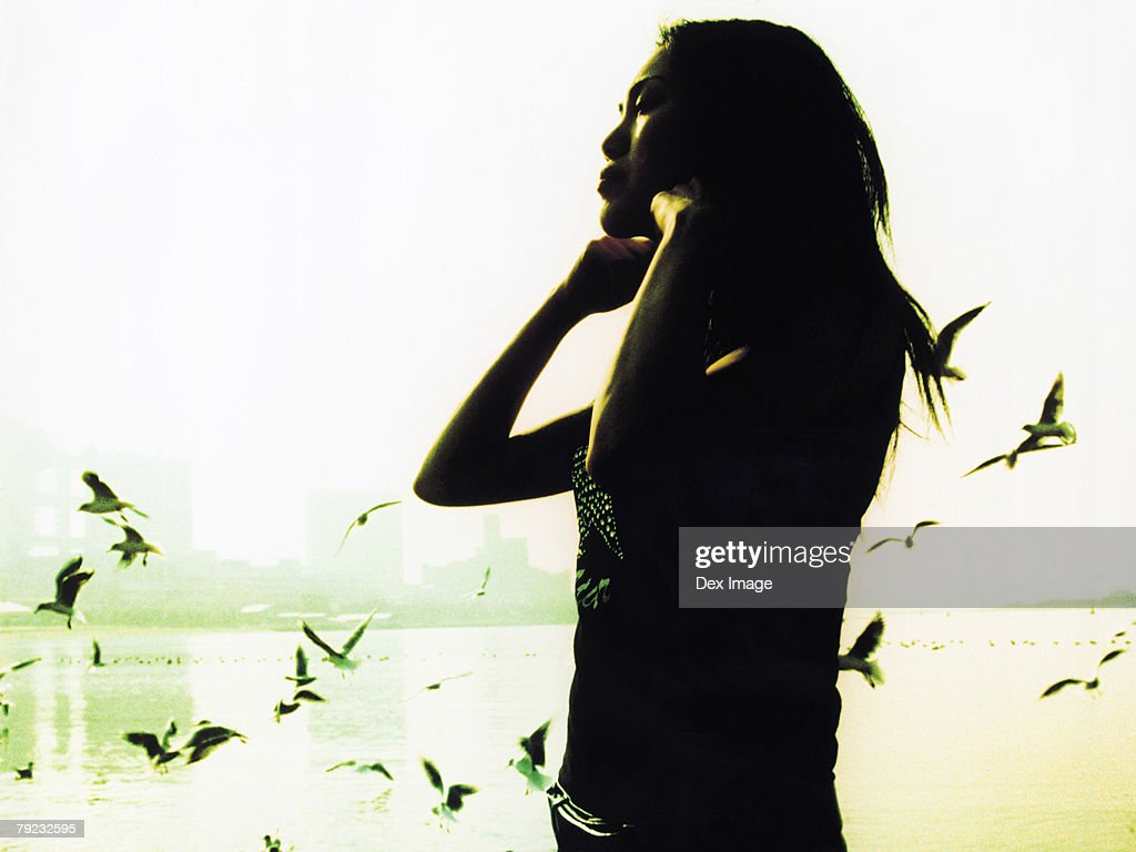 Woman standing on beach, seagulls flying, silhouette : Stock Photo