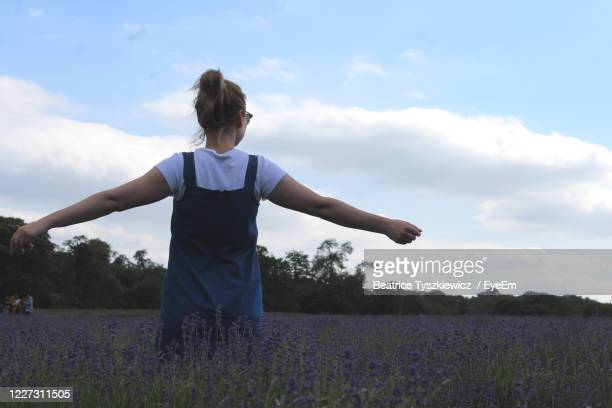 woman standing on field of lavender. - beatrice stock pictures, royalty-free photos & images