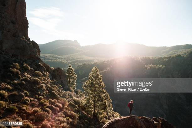 woman standing on mountain against sky - tejeda stock pictures, royalty-free photos & images