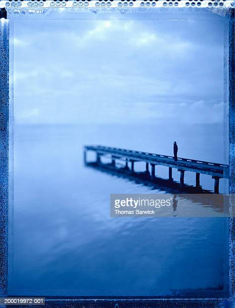 woman standing on pier overlooking water - transfer image stock pictures, royalty-free photos & images