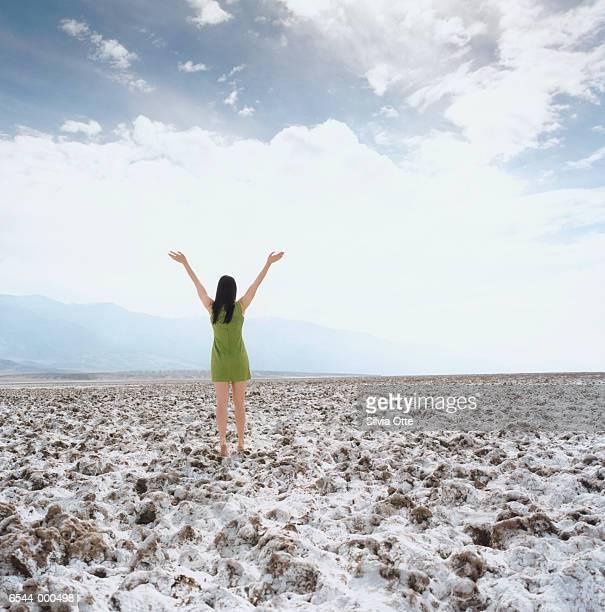 woman standing on salt flat - grünes kleid stock-fotos und bilder