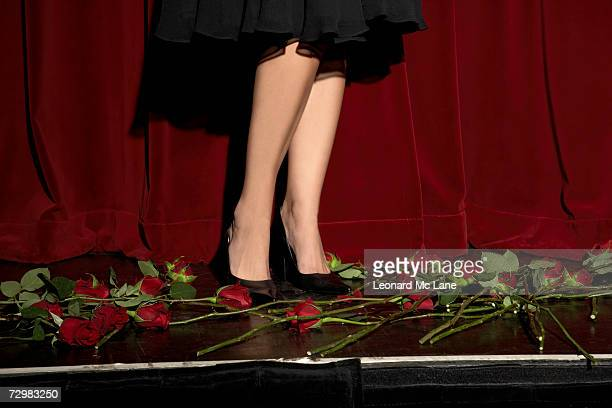 woman standing on stage amongst roses, close-up, low section - scarpa rossa foto e immagini stock