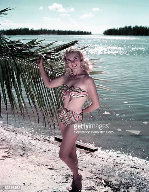 Woman standing on the beach wearing a stripped bathing suit holding a branch of a palm tree Florida USA