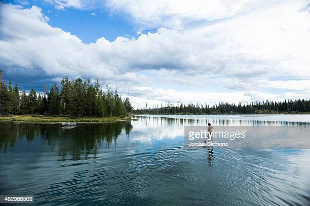 woman standing  on up paddle board - jackson hole stock pictures, royalty-free photos & images