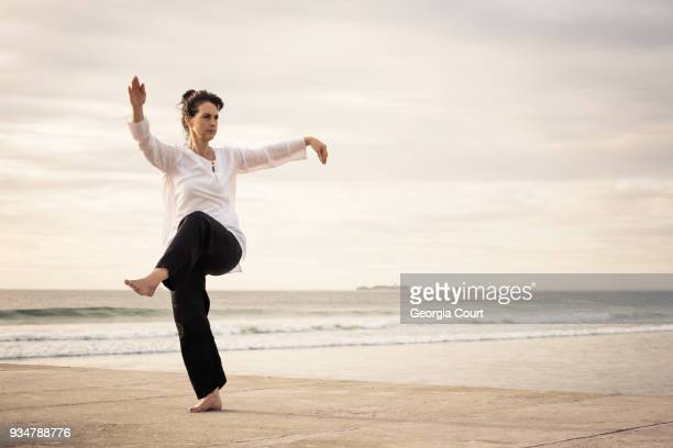 woman standing poised practicing wu tai chi on the end of a concrete pier sunset behind - core stock pictures, royalty-free photos & images