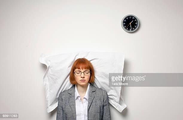 woman standing up asleep
