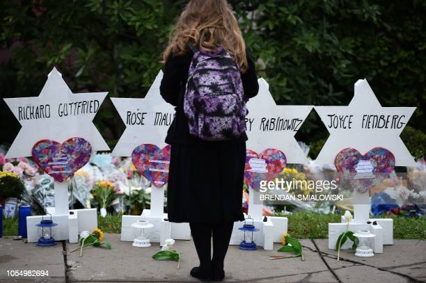 TOPSHOT A woman stands at a memorial outside the Tree of Life synagogue after a shooting there left 11 people dead in the Squirrel Hill neighborhood...