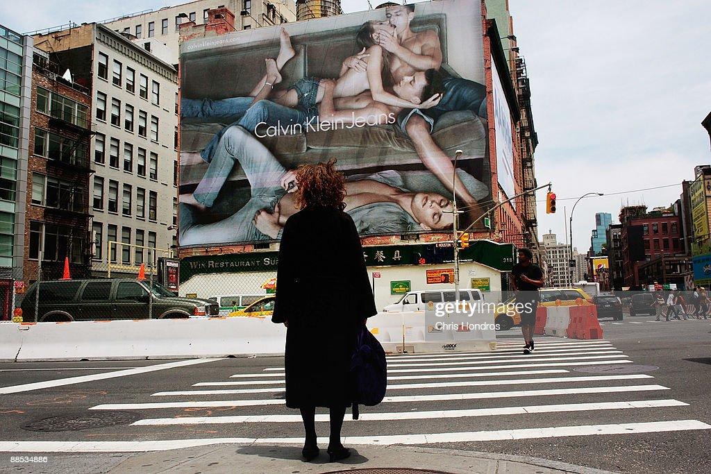 Calvin Klein Billboard In Manhattan's SoHo Neighborhood Stirs Controversy : News Photo