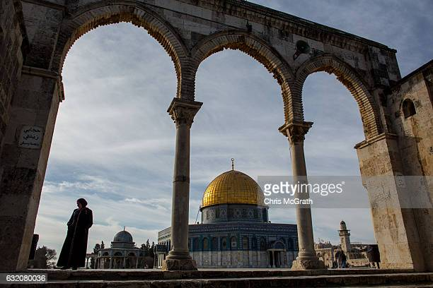 A woman stands in front of the Dome of the Rock at the AlAqsa mosque compound in the Old City on January 17 2017 in Jerusalem Israel 70 countries...