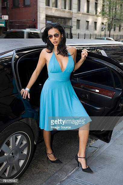 woman stepping out of limo - fabolous musician stock photos and pictures
