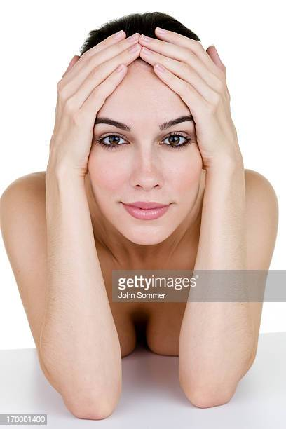 woman stretching her skin back - tighten stock pictures, royalty-free photos & images
