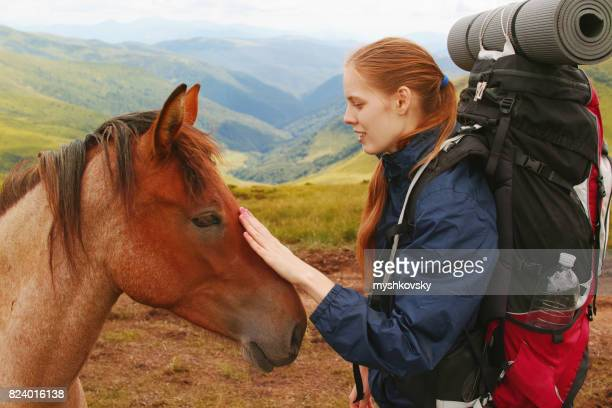 Woman stroking a horse on the mountains background.