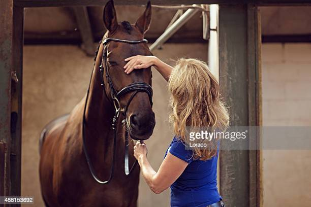 woman stroking horse