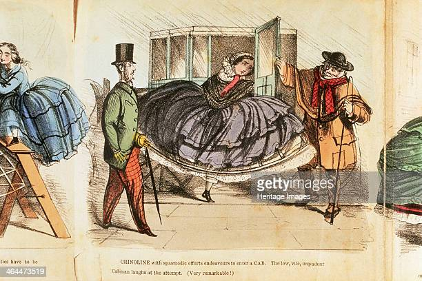 Woman struggling to enter a cab c1860 'Crinoline with spasmodic efforts endeavours to enter a CAB The low vile impudent Cabman laughts at the attempt...