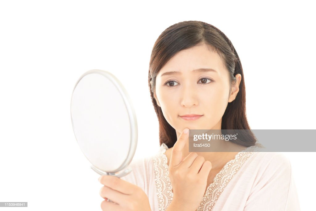 Woman suffering from rough skin : Stock Photo