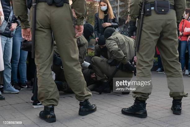 Woman suffers head injuries as peaceful protesters are encircled by police and arrested on mass during a women's march on September 19, 2020 in...