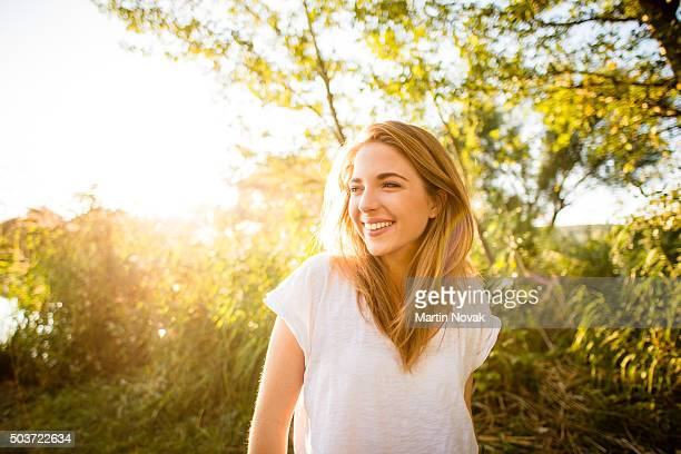 woman - sunny portrait - animal head stock pictures, royalty-free photos & images