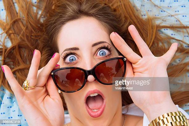 woman surprised with his mouth open - pants down woman stock pictures, royalty-free photos & images