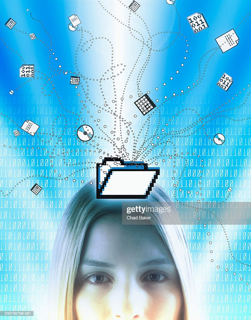 Woman surrounded by  computer icons and binary, portrait : Stock Photo