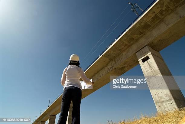 Woman surveying bridge, low angle view