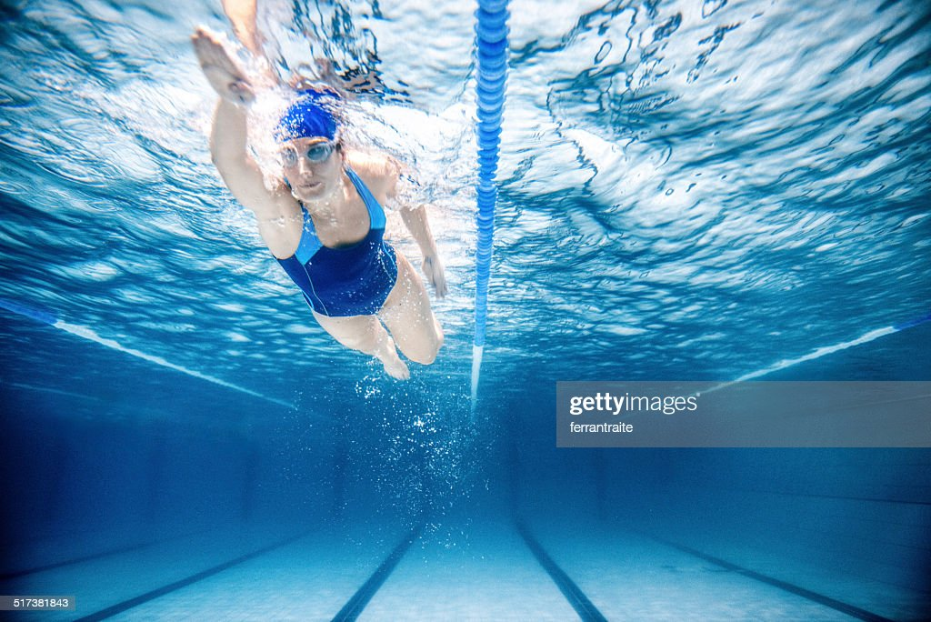 Woman Swimming Freestyle : Stock Photo