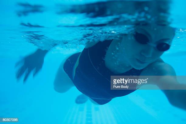 Woman swimming, underwater view, close-up