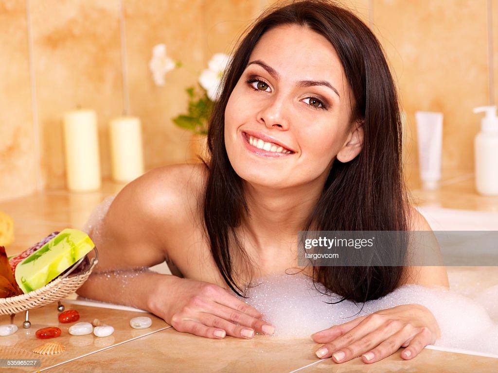 Woman take bubble  bath : Stock Photo