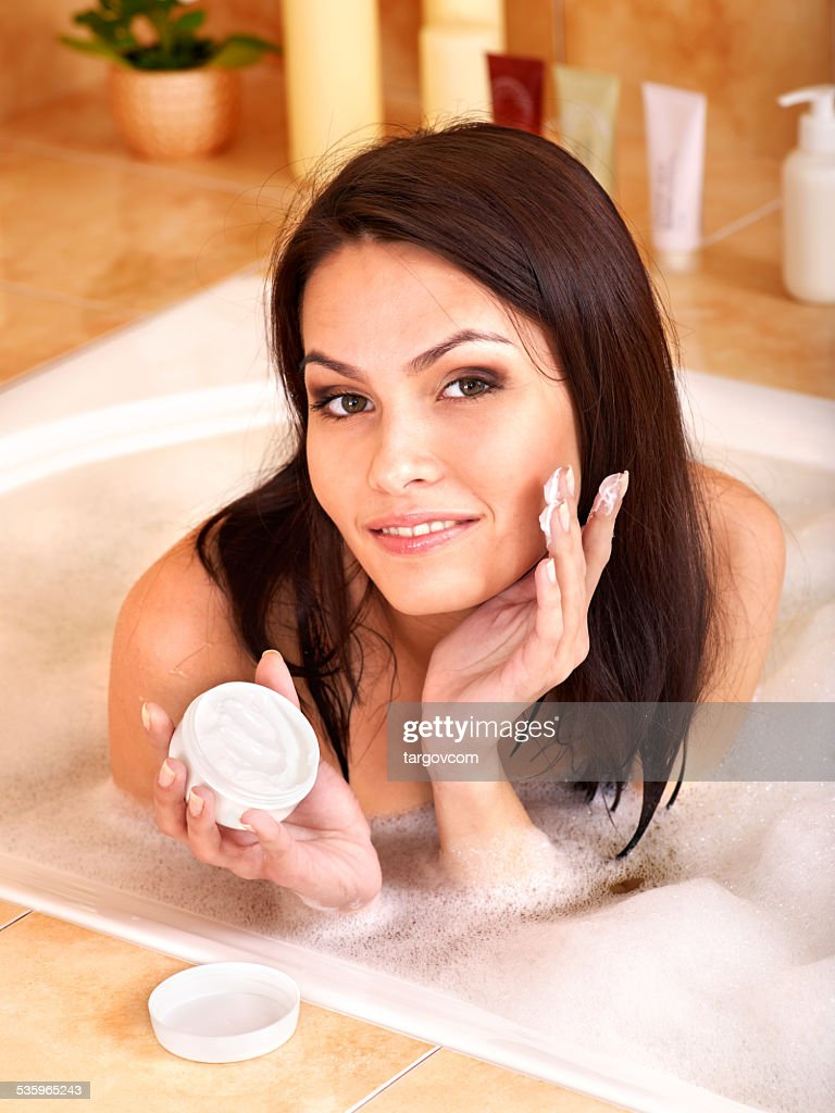 Woman take bubble  bath : Stock Photo