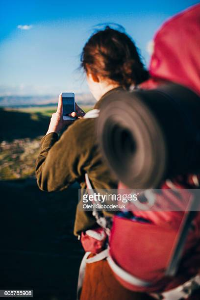 woman take photo on the background of ararat - armenia stock pictures, royalty-free photos & images