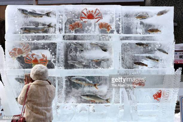 A woman take photographs of the ice cube containing fishes and crabs during the 68th Sapporo Snow Festival on February 7 2017 in Sapporo Hokkaido...