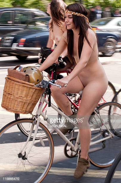 A woman takes part in the annual 'London World Naked Bike Ride' event in central London on June 11 2011 Now in it's eighth year the event has seen...