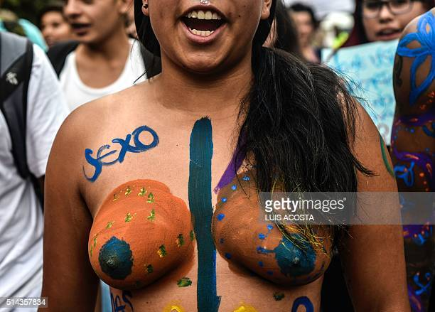 A woman takes part in the 'Slutwalk' to protest against violence against women on the International Women's Day in Bogota on March 8 2016 AFP...