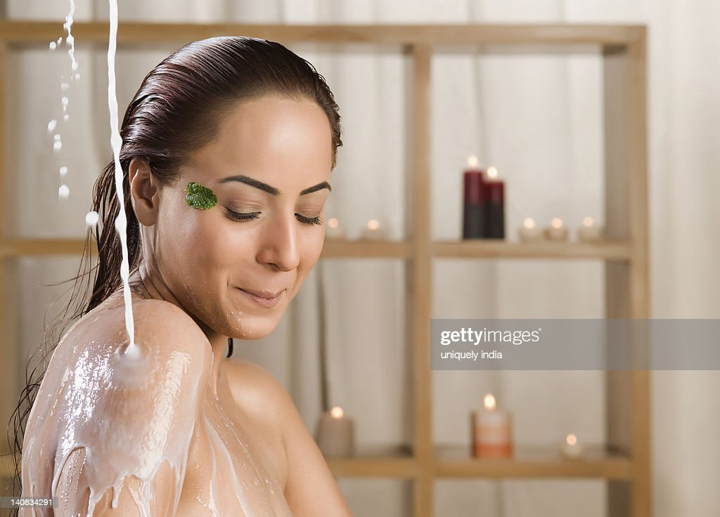 Woman Taking A Milk Bath In A Health Spa Stock Photo | Getty Images