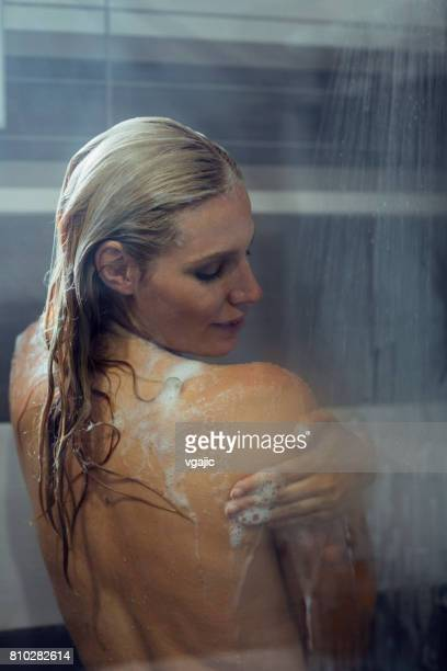 Woman taking a shower