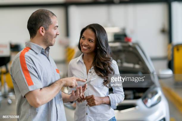 Woman taking her car to the mechanic