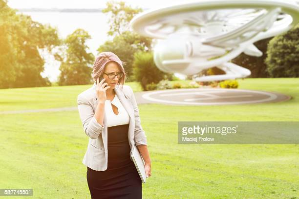 woman taking on phone outdoors - county cavan stock photos and pictures