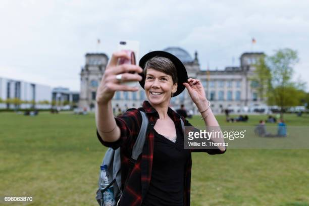 Woman Taking Selfie In Front Of Bundestag